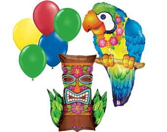 """7pc Party Pack, 35"""" Inch Tropical Parrot Tiki Island Mylar Latex Balloon Pack Kit, Helium Balloon Party Supplies Decor, Large Balloon Supply"""