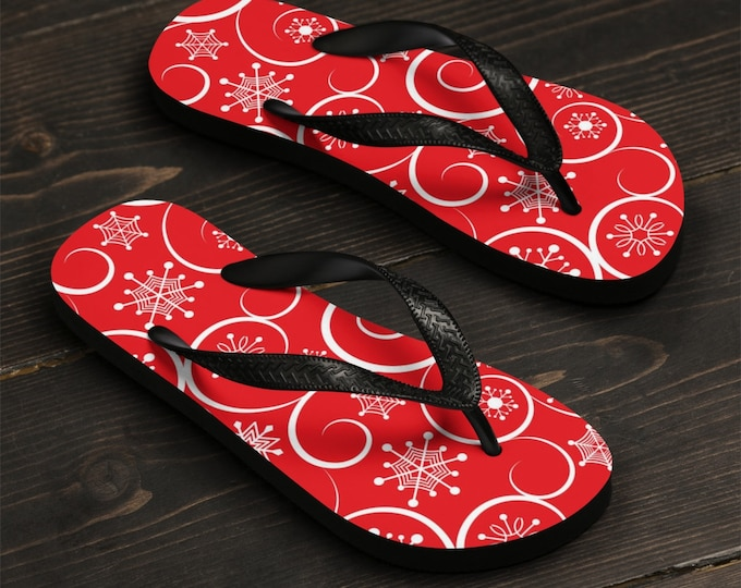 Unisex Flip-Flops, Soft Durable Printed Flip Flops, Beach Shoes and Apparel, Polyester Rubber Flip Flops, Christmas Holiday Sandals Shoes