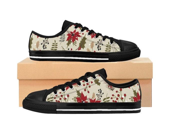 Winter Christmas Women's Sneakers, Poinsettia Holiday Sneakers, Holiday Tennis Shoes, Holiday Canvas Shoes, Custom Accessories Footwear