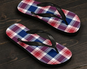 Unisex Flip-Flops, Patriotic Tartan Plaid Beach Sandals, All Over Print Summer Flip Flops, Independence Day Shoes Accessories, Pool Shoes