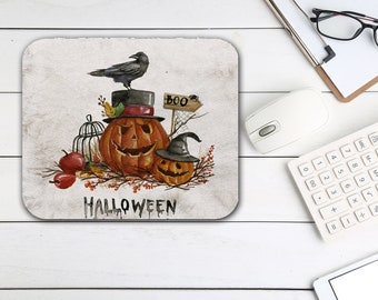 Halloween Mouse Pad, Pumpkin Crow Mouse Pad, Tech Desk Office Computer Mouse Pad Office Supplies, Holiday Decor, Neoprene Non Slip Mouse Pad
