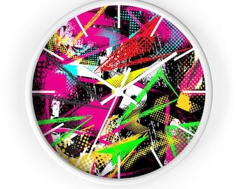 10 Inch Wall Clock, Retro Neon Abstract Print Clock, Wooden Wall Clock, 80's 90's Retro Home Decor, Boho Clock,  Office Studio Decor Clock