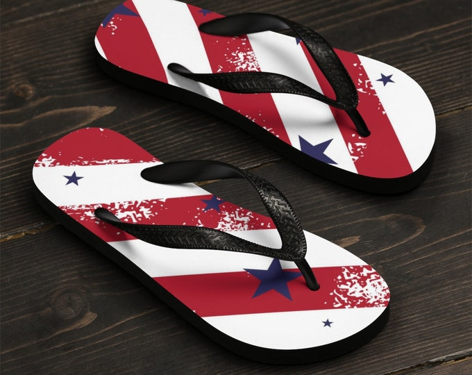 Unisex Flip-Flops, Patriotic Stars Beach Sandals, Custom Summer Printed Flip Flops, Independence Day Shoes Accessories, Pool Flip Flops