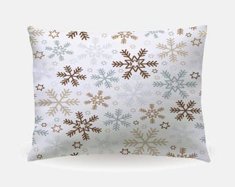 Winter Holiday Pillowcase, Snowflakes Standard Pillowcase 30x20in, Christmas Bedding Pillow Case, Home Furnishings, Holiday Bedroom Decor