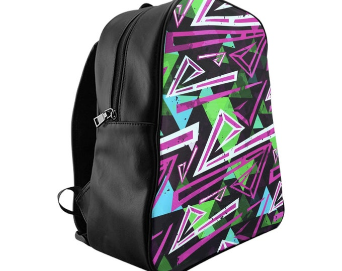 Vegan Leather Laptop Backpack, PU Leather Retro Neon 80's 90's Print Bag, Three Sizes School Backpack,, Office Travel Carry On Luggage Bag