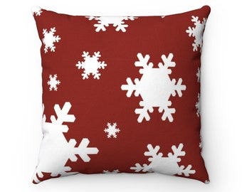 Square Pillow Case, Washable Pillow Cover, 14-20 Inch, Christmas Holiday Home Decor, Snowflakes Pillow Case, Snow Flakes Holiday Bedding