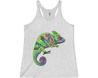 Womens Triblend Racerback Tank Top, Boho Chamelion Lizard Beach Tank Top, Flowy Gym Workout Shirt, XS-2XL Bohemian Clothing Appare