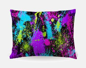 Neon Paint Pillowcase, Neon 80s Print Standard Pillowcase 30x20in, Retro Standard Bedding Pillow Case, Home Furnishings, Polyester Case