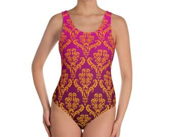 XS-3XL Womens Swim Suit, Full Piece Brazillian Swimsuit, Full Ombre Damask Boho Bohemian Swimwear Swim wear, Cut Sew Cheeky Fit Swimsuit