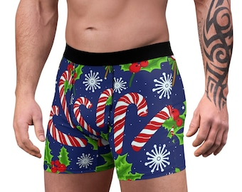 Men's Boxer Briefs, Candy Cane Christmas Boxers, Boxer Brief Underwear, Christmas Holiday Mens Briefs, Custom All Over Print Boxer Briefs