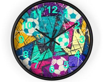 10 Inch Wall Clock, Sports Soccer Football Print Clock, Wooden Wall Clock, Boys Room, Kids Room Clock, Home Decor,  Office Studio Decor