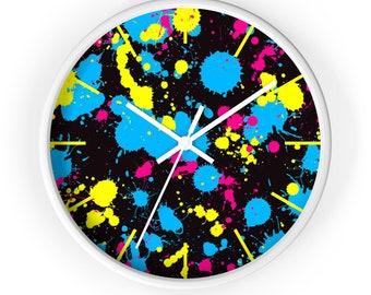 10 Inch Wall Clock, Retro Neon Abstract Print Clock, Wooden Wall Clock, 80's 90's Retro Home Decor, Boho Clock,  Office Studio Decor