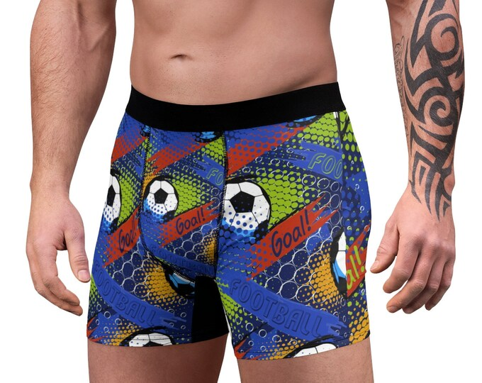 Men's Boxer Briefs, Sports Soccer Football Boxer Briefs, Mens Underwear, Boxer Brief Underwear, Mens Briefs, Soccer Sports Clothing Apparel