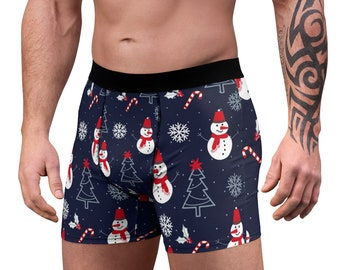 Men's Boxer Briefs, Candy Cane Christmas Boxers, Boxer Brief Underwear, Snowman Santa Holiday Mens Briefs, Custom All Over Print Boxer Brief