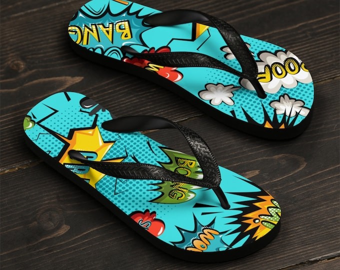 Unisex Flip-flops, Pop Art Comic Print Sandals, Soft Durable Printed Flip Flops, Beach Shoes And Apparel, Polyester Rubber Flip Flops
