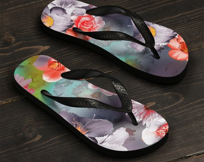 Unisex Flip-Flops, Floral Flowers Beach Sandals, Custom Summer Printed Flip Flops, Watercolor Flowers Shoes Accessories, Pool Flip Flops