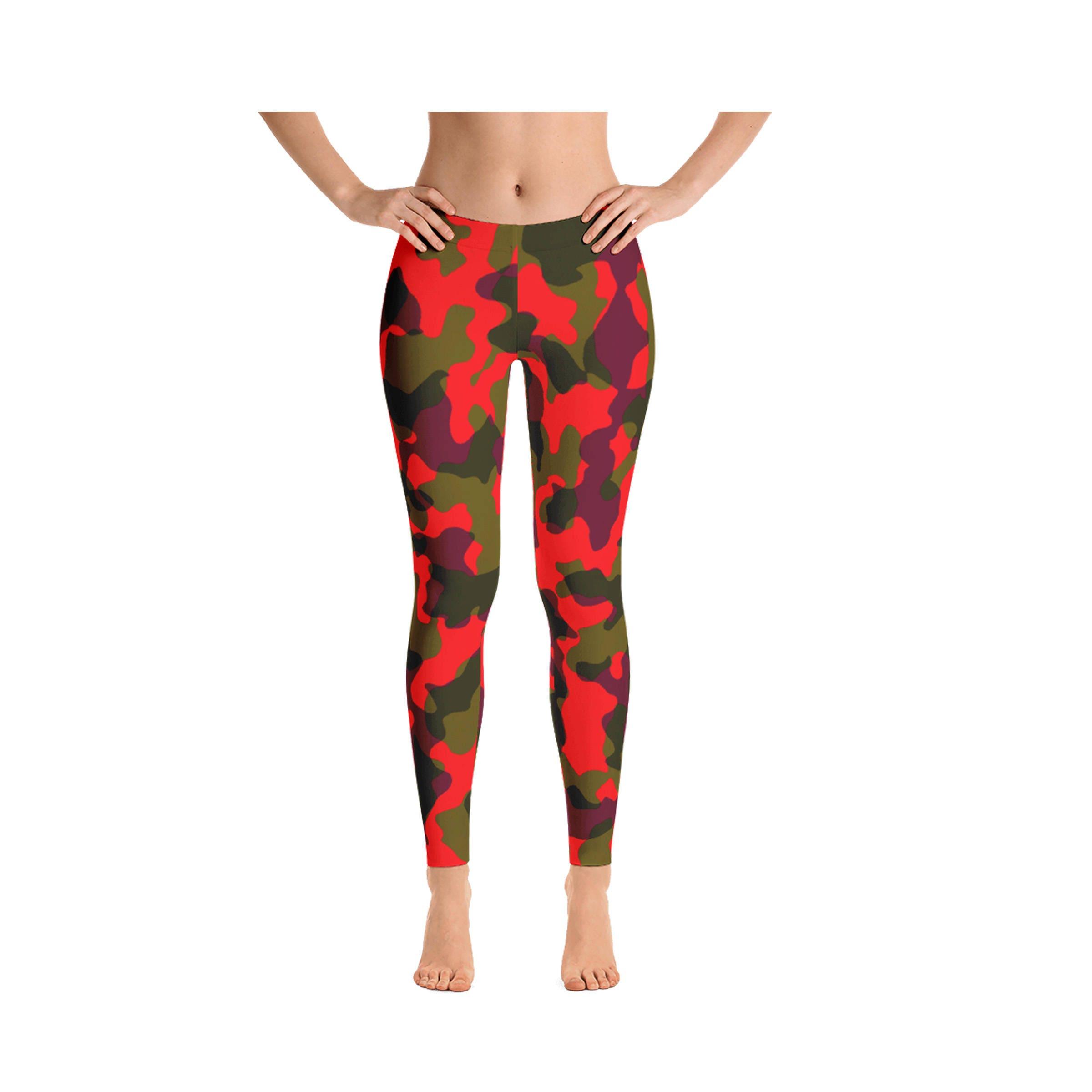 52c736006d4e32 Camouflage Leggings, Orange Green Purple Camo Leggings, Womens Adult Yoga  Pants Clothing, Camo Polyester Spandex Leggings XS S M L XL Size
