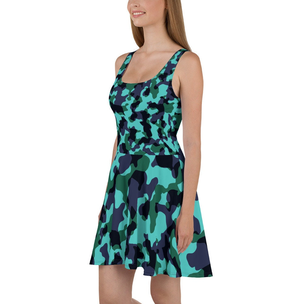 Womens Skater Dress Sleeveless All Over Print Dress Camouflage Tank Dress Camo Military Polyester Spandex XS-3XL Flowy Summer Dress