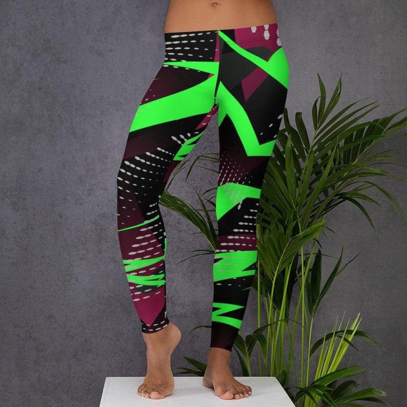 Retro 80/'s 90/'s Neon Leggings Womens Yoga Pants Polyester Spandex Leggings XS S M L XL Size Womens Leggings Abstract Stretch Leggings