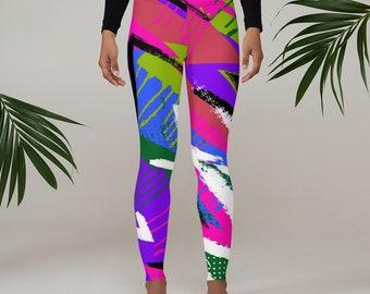 Womens Leggings, Retro 80's 90's Neon Leggings, Abstract Stretch Leggings, Womens Yoga Pants, Polyester Spandex Leggings XS S M L XL Size
