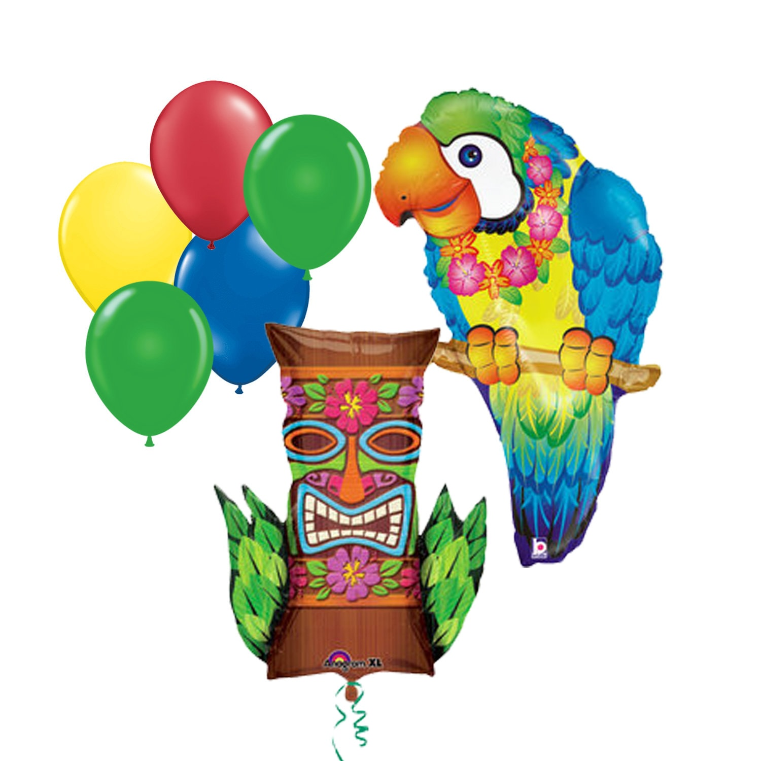 7pc Party Pack 35 Inch Tropical Parrot Tiki Island Mylar Latex Animal Balloon Kit Helium Supplies Decor Large Supply