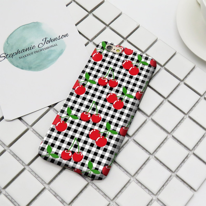 the latest 02499 0ef71 Cherry checkered 3D Print Phone Case for Iphone 6 6S 6/6S Plus 7 7 Plus  phone Case/Samsung Galaxy S6 S6 edge S7 S7 dge Phone Shell Case