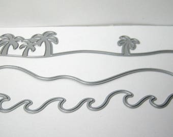 3pc Waves, Beach, Palm Tree Metal Cutting Die Set