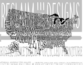 United States word art file SVG,PNG, and JPEG file