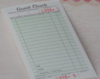 Guest Checks Vintage Style Diner Guest Checks Diner Receipts Used for Crafting, Journal Spots, Journals, Collage Art Projects