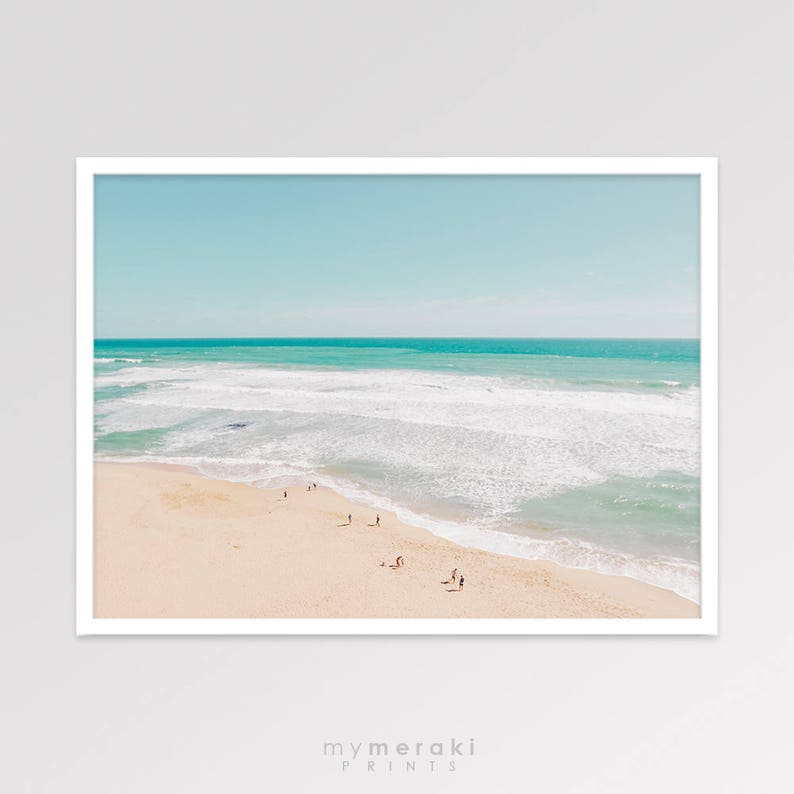 Beach Photography People on Beach Print Contemporary Ocean image 0
