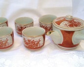 SOLD Antique Ceremonial Japanese Satsuma Kutani Gold Iron Red Tea Set - Hand Painted - Ethnic
