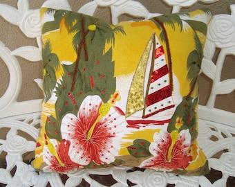 Aloha! Barkcloth Hawaii Hawaiian Sequin Pillow Sailboat Hibuscus Flowers - New Old Stock