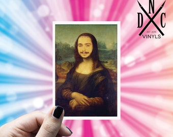 Post Malona Lisa Vinyl Sticker, Best Friend Gift, Funny Stickers, Post Malone, Decal, Macbook Decal, Stickers Macbook Pro