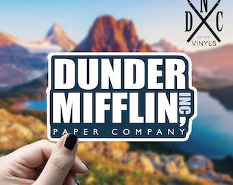 Dunder Mifflin Paper Company Vinyl Sticker, The Office, Best Friend Gift, Funny Stickers, Decal, Macbook Decal, Stickers Macbook Pro