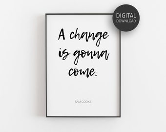 Sam Cooke A Change is Gonna Come original block print art