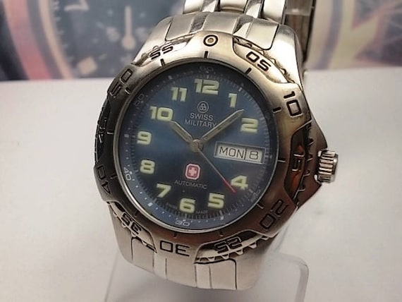 men s swiss military watch s steel automatic day etsy