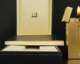 Dunhill Rollagas Lighter, d Mark Fine Gold Bark Design, + Box & Papers. Vintage Swiss Made, Very Nice Condition.