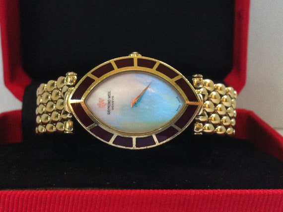 Ladies Watch Raymond Weil Geneve 5853 Shell Dial 18k Gold Plated Vintage Swiss Made Nice Condition