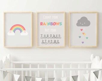 Nursery Prints, Rainbow Baby Nursery, Nursery Decor, Kids Room, Rainbow Nursery Art, Neutral Nursery, Set of 3, There's a Rainbow of Hope