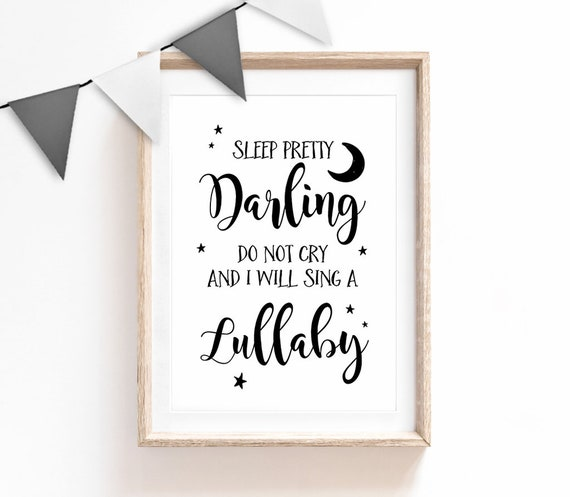 Baby Sleeping Typography Quote White Grey Nursery Print Picture Decor Wall Art