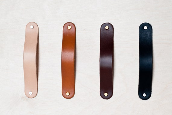 Leather Drawer Pulls S4 Choice of Length Drawer Handles Cupboard Handles Pulls Kitchen Handles Pulls Door Handles Wardrobe Pulls T\u00fcrhenkel