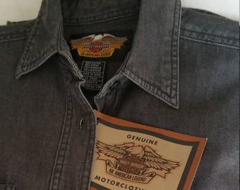 fe9bc40f877 Genuine Harley-Davidson MotorClothes Women s M Long Sleeve Classic Denim  Shirt Button Front Denim Shirt New With Tags