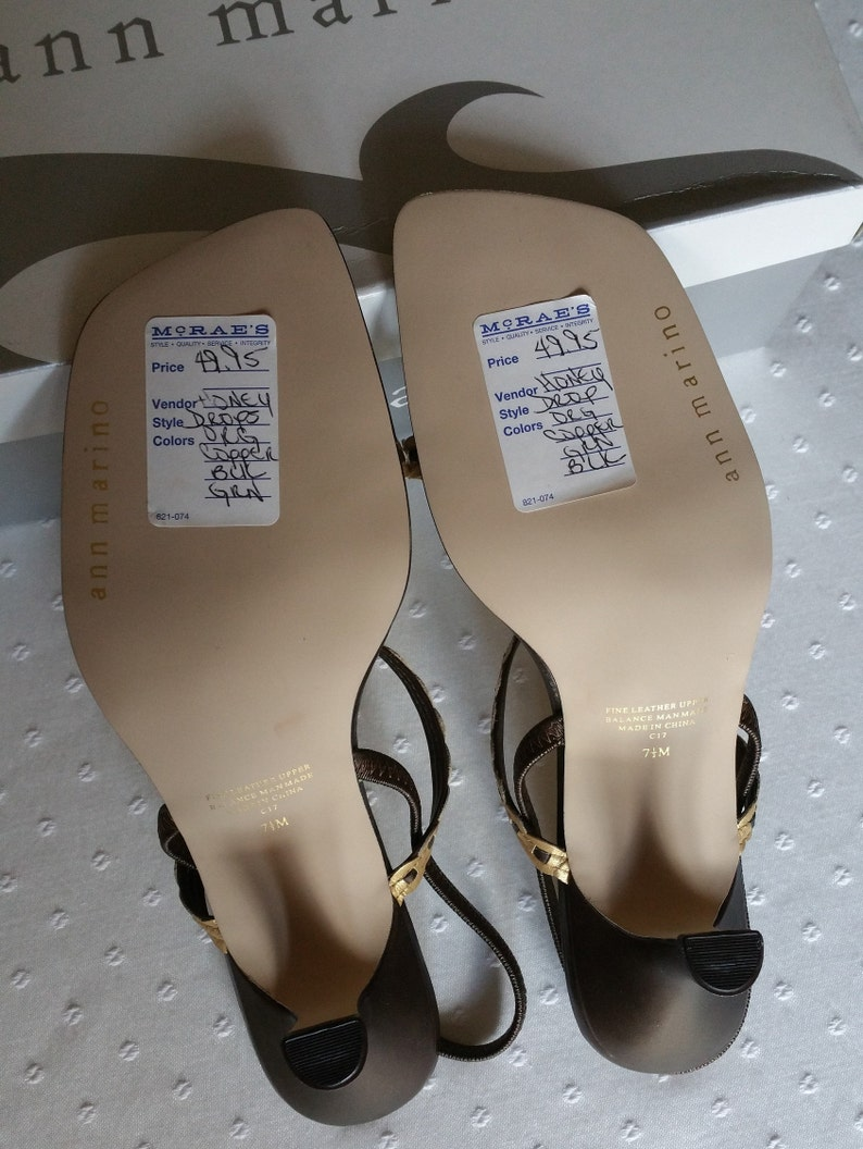 a284092141ba Vintage Ann Marino Womens Size 7.5M NWT Slingback Kid Leather