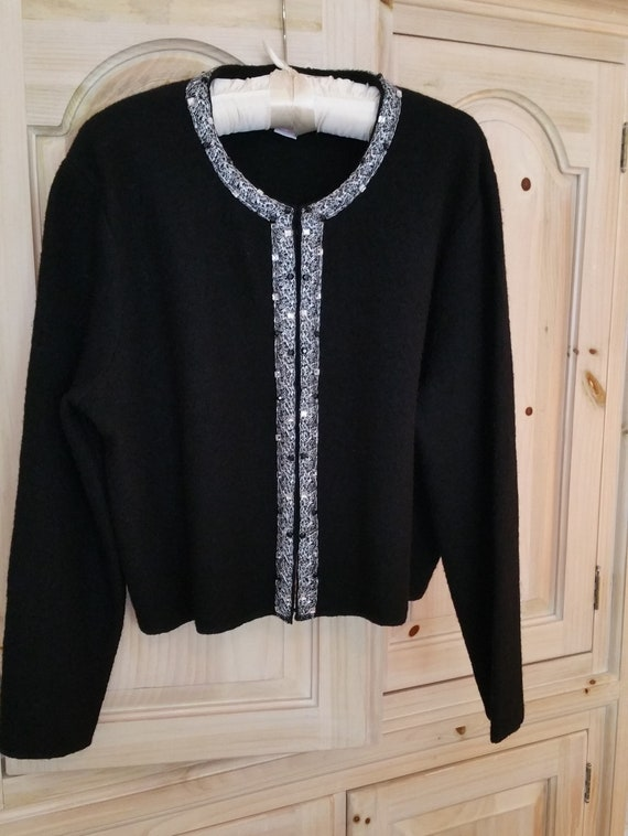 0ce7224490 Vintage 80's Ruby Rd. Boiled Wool Cardigan Sweater Jacket XL Black with  Silver and Black Crystal Embellishments