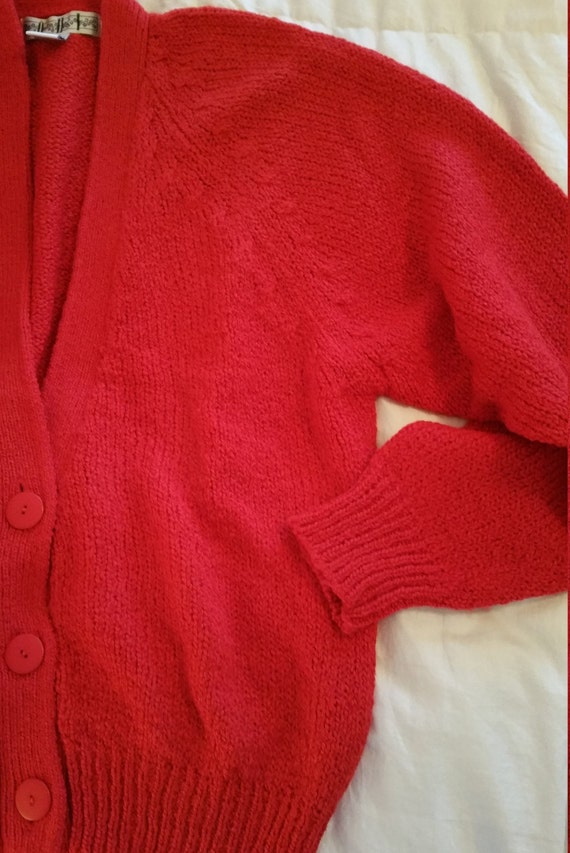 4713c36237 Slouchy 80s Acrylic Knit Cardigan Sweater Red Women s L Button Front  Oversized Thick Knit Preppy Cardigan Sweater Vintage OHI Brand EUC