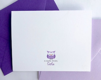 Owl Folded Note Cards with Envelopes, Owl Stationary, Owl Notecards, Owl Note Card, Owl Notes, Note Cards for Kids, Notecards and Envelopes