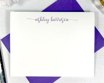Personalized Notecard Set / Personalized Stationary Cards / Stationary Note Card Set / Script Swash Pretty Notecards / SCRIPT SWASH