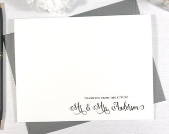 Personalized Note Card Set / Personalized Couples Notecard Set/ Stationery Stationary / Calligraphy wedding thank you from the FUTURE MR MRS