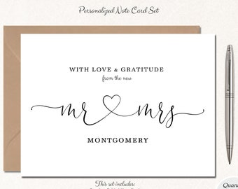 Mr and Mrs Wedding Thank You Cards, Custom Wedding Cards, Personalized Wedding Cards, Wedding Thank You Notes, Set of 10 MR & MRS HEART