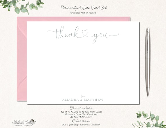 Personalized Wedding Thank You Cards With Envelopes Thank You Notes Thank You Wedding Birthday Graduation Family Thank You Heart